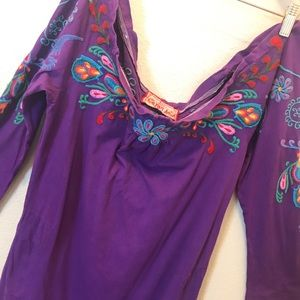 🛍Johnny Was Purple Off Shoulder Summer Dress